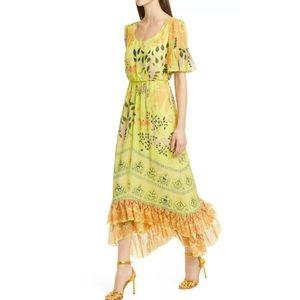 SALONI Pippa Jungle Midi Silk Georgette Dress